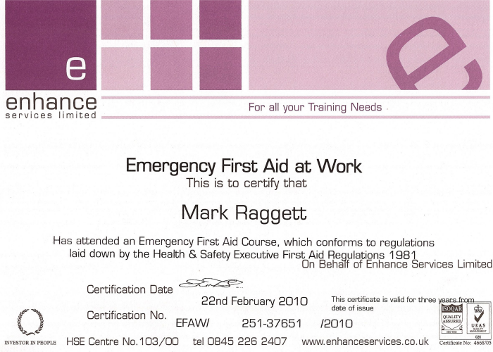 Qualifications mr pat city guilds certificate first aid at work certificate yadclub Gallery